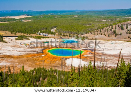 World Famous Grand Prismatic Spring in Yellowstone National Park, US - stock photo