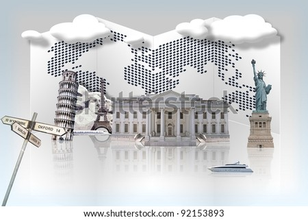 World famous monument on globe showing world travel - stock photo