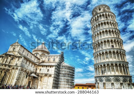 world famous Piazza dei Miracoli in Pisa, Italy - stock photo