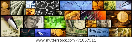 World finance system collage. High resolution image. - stock photo