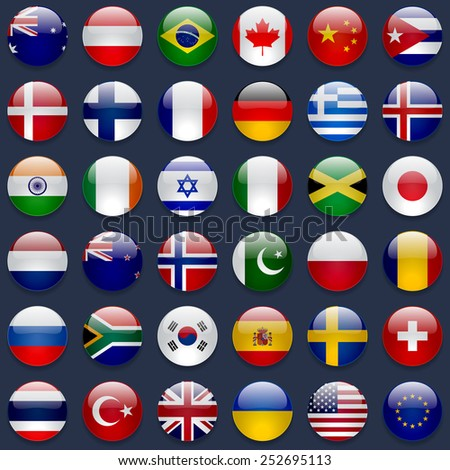 World flags collection. 36 high quality round glossy icons. Correct color scheme. Perfect for dark backgrounds. - stock photo