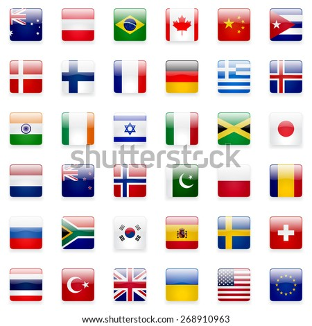 World flags collection. 36 high quality square glossy icons. Correct color scheme. - stock photo