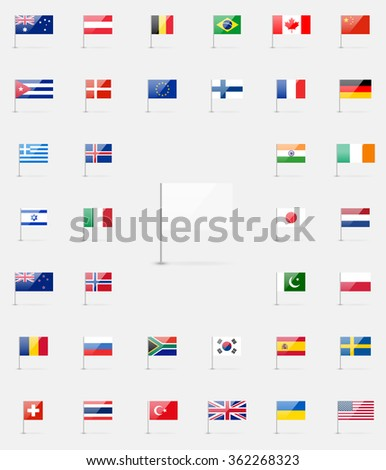 World flags icon set. 37 detailed high quality glossy icons. White flag blank template. - stock photo