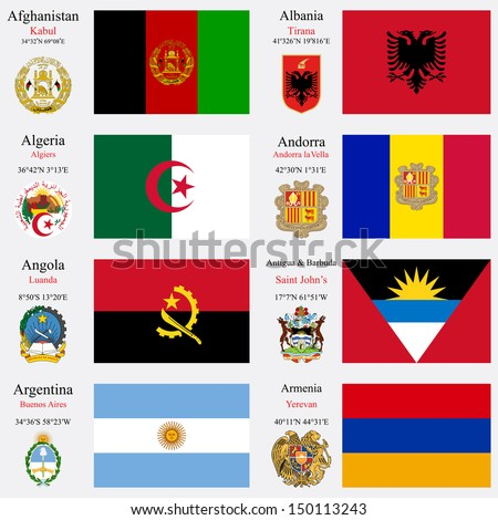 world flags of Afghanistan, Albania, Algeria, Andorra, Angola, Antigua and Barbuda, Argentina and Armenia, with capitals, geographic coordinates and coat of arms, art illustration - stock photo