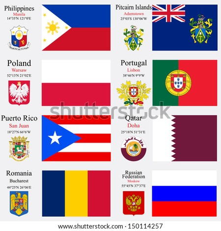 world flags of Philippines, Pitcairn Islands, Poland, Portugal, Puerto Rico, Qatar, Romania and Russian Federation, with capitals, geographic coordinates and coat of arms, art illustration - stock photo
