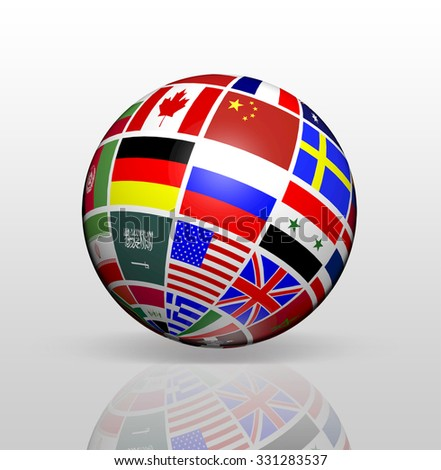 World flags sphere floating on a white background as a symbol representing international global cooperation in the world of business and political affaires. - stock photo