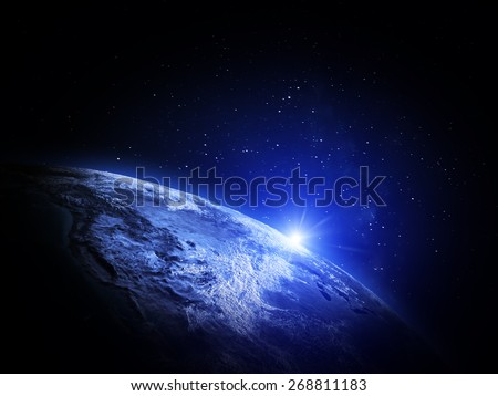 World from space. Elements of this image furnished by NASA - stock photo
