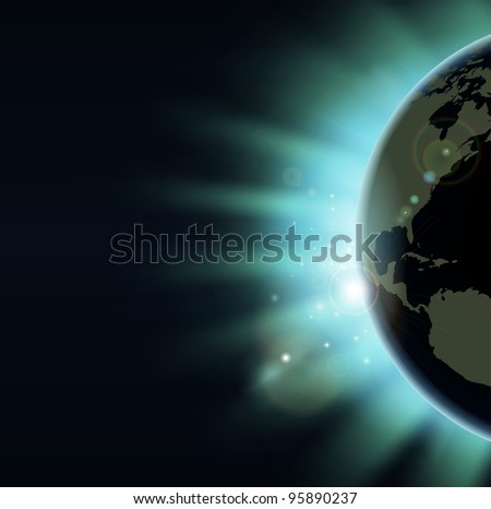 World globe eclipse concept illustration. America side of the world showing. - stock photo