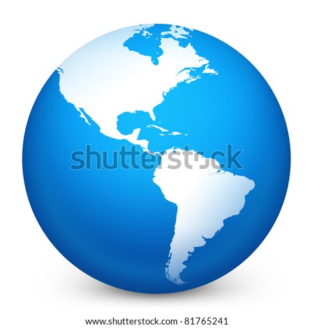World globe in blue on isolated white background. 3D render image and part of icon series. - stock photo