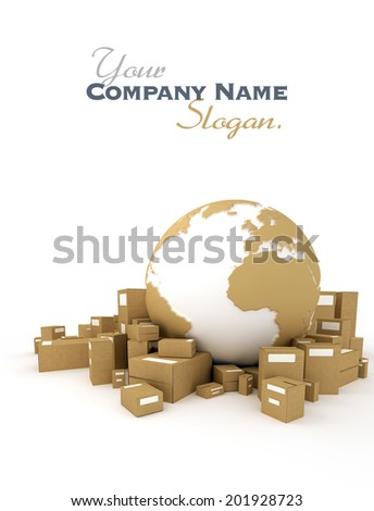 World globe in white and cardboard texture, surrounded by packages   - stock photo