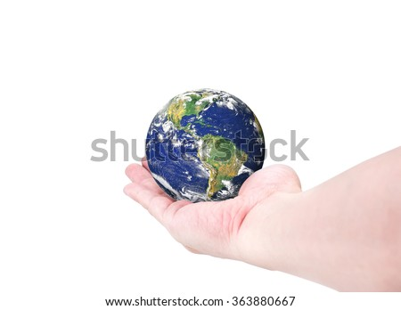World globe(South and North America) on woman hand isolated on white background,Elements of this image furnished by NASA - stock photo