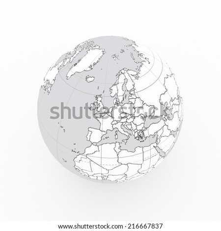 world globe with country borders on white isolated - stock photo