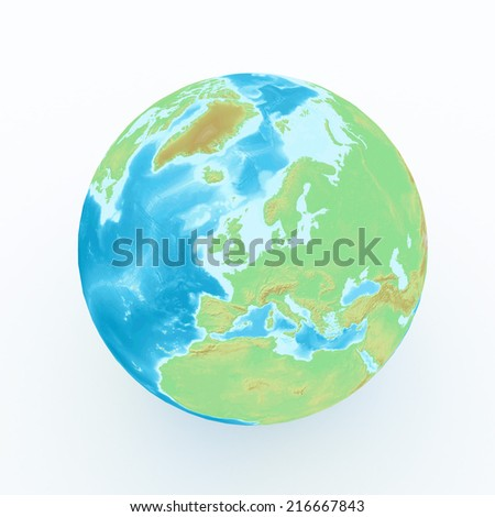 world globe with geographical features on white isolated - stock photo