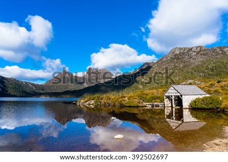 World Heritage Cradle Mountain, Historic Boat Shed and Dove Lake in Cradle Mountain - Lake St Clair National Park, Tasmania - stock photo