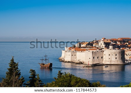 World heritage Old town of Dubrovnik, Europe, Adriatic sea - stock photo