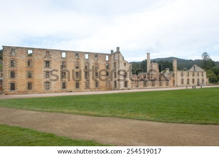 World Heritage Site of  Port Arthur Convict Museum Settlement in Tasmania, Australia, with ruins of historic prison and other buildings, tourist attraction and destination. - stock photo