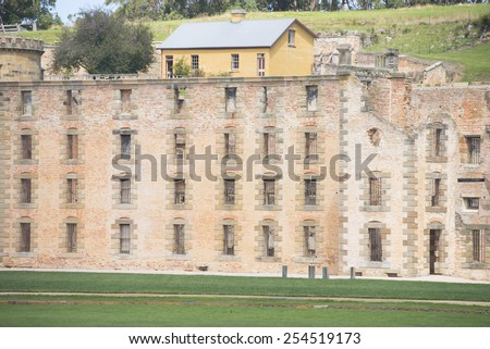 World Heritage Site of  Port Arthur Convict Museum Settlement in Tasmania, Australia, with ruins of historic prison and more buildings, tourist attraction and destination. - stock photo