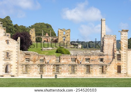 World Heritage Site of  Port Arthur Convict Museum Settlement in Tasmania, Australia, with ruins of historic prison and other buildings, tourist destination. - stock photo