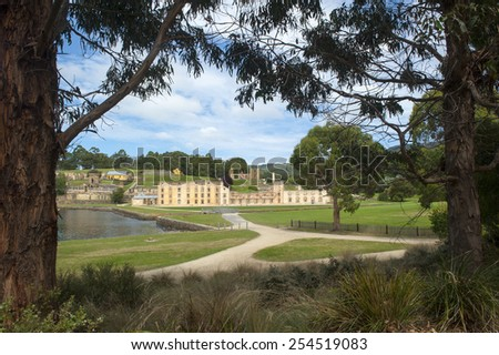 World Heritage Site of  Port Arthur Convict Settlement in Tasmania, Australia, with ruins of prison and other historic buildings, tourist attraction and destination. - stock photo