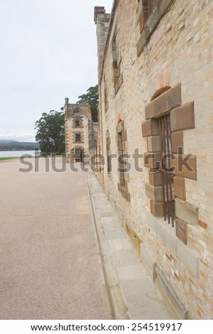 World Heritage Site of  Port Arthur Convict Settlement in Tasmania, Australia, with ruins of prison and harbour, tourist destination. - stock photo
