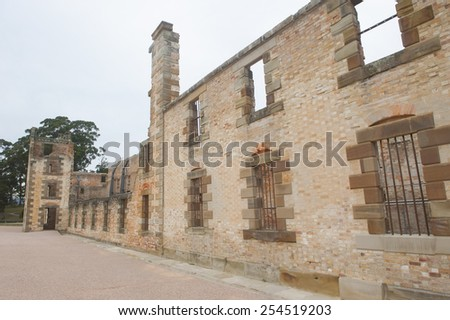 World Heritage Site of  Port Arthur Convict Settlement Museum in Tasmania, Australia, with ruin of prison, tourist attraction and destination. - stock photo