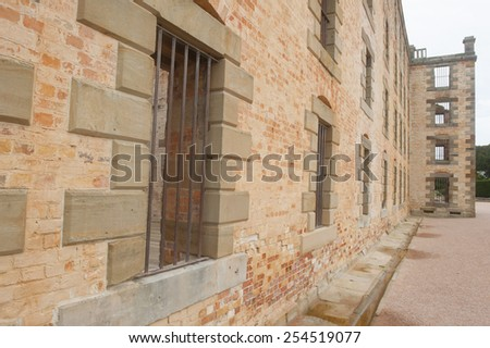 World Heritage Site of  Port Arthur Convict Settlement Museum in Tasmania, Australia, with ruins of historic prison, tourist attraction and destination. - stock photo