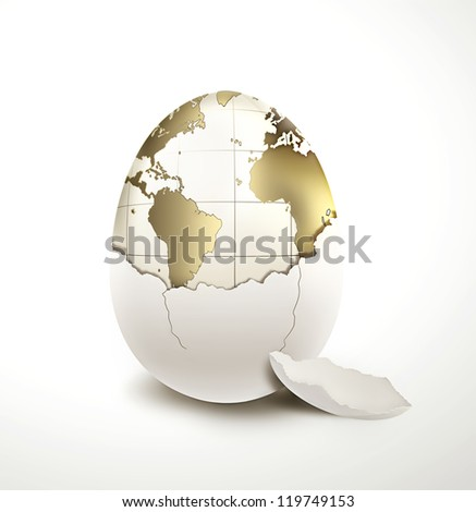 World in egg shell on a light background - stock photo