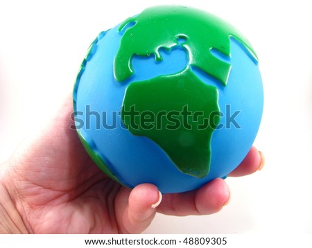 World in Female Hand - stock photo