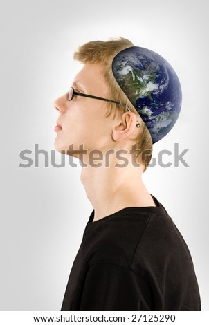 World in head - stock photo