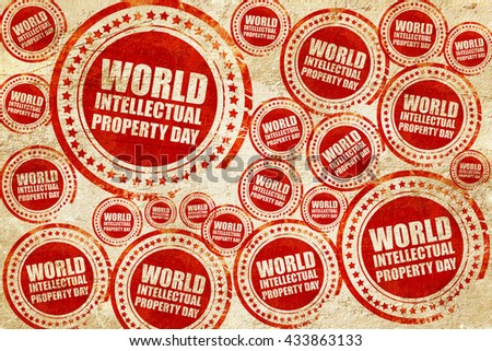 world intellectual property day, red stamp on a grunge paper tex - stock photo