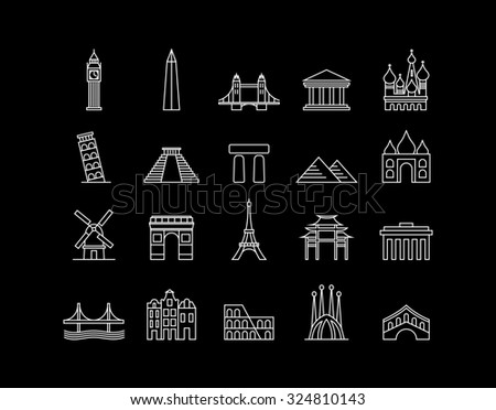 World landmark monuments modern line icon set ideal for travel web, app, or online tourism campaign.  - stock photo