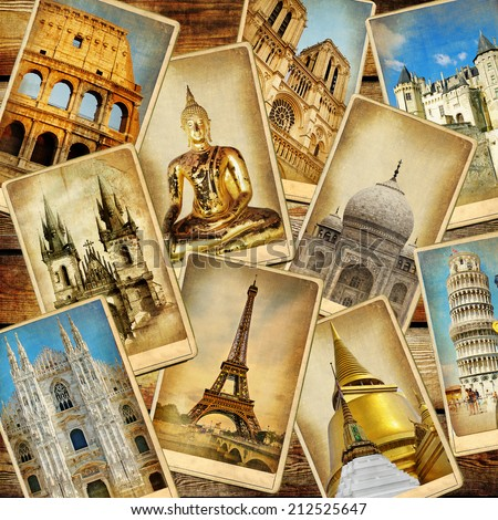 world' landmarks - vintage collage.travel consepts - stock photo