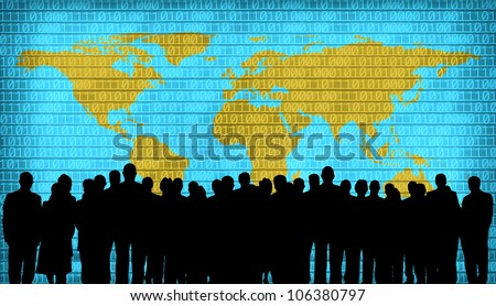 world map and business people silhouette - stock photo