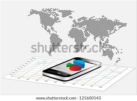 World Map and Smartphone showing a spreadsheet with some 3d charts over it - stock photo