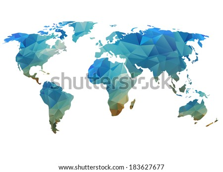 World map background in polygonal style  can be used for website, info-graphics, banner. - stock photo