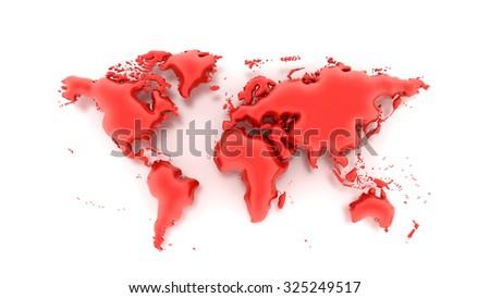 World Map Balloon - stock photo
