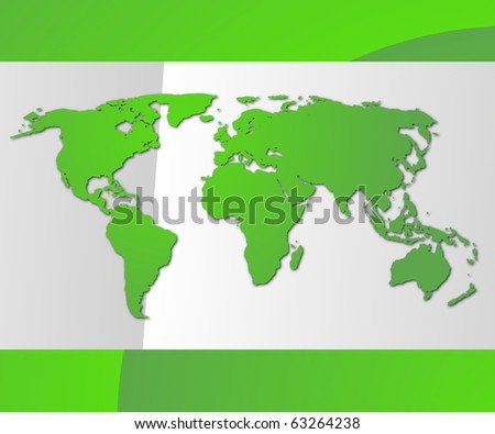 world map business card with copyspace for text message - stock photo