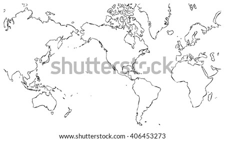 World map centered on united states of america with black outline on white background with no internal borders - planet geographic map - global earth cartographic picture in wide view - stock photo