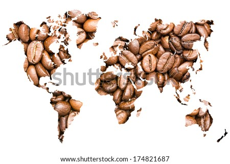 World Map Coffee Beans Isolated On White - stock photo