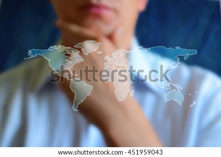 World map concept image. Looking on the world map. Design world map at colourfull background with sky and cloud. Abstract world map with continents, without countries, cities, and symbols. - stock photo