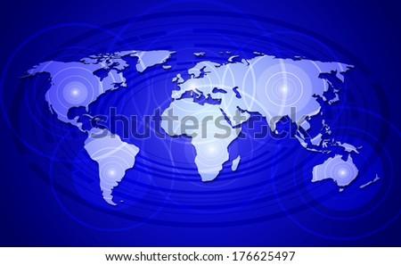 World map - concept of world network communication. - stock photo