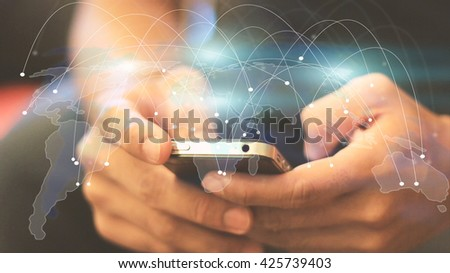 World map connected, social network, globalization business, social media, networking concept. - stock photo