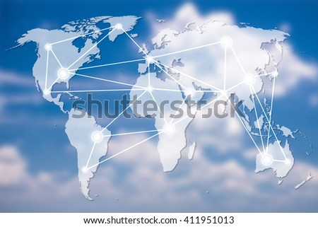 world Map connection on clouds sky,networking concept, Elements of this image furnished by NASA - stock photo