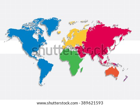 world map continents colors raster - Individual separate continents - Europe Asia Africa America Australia Oceania  - stock photo