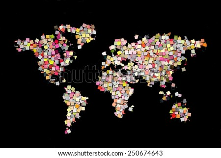 World map creative illustration build of small paper squares - stock photo
