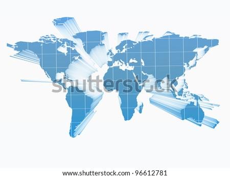World map 3d - stock photo