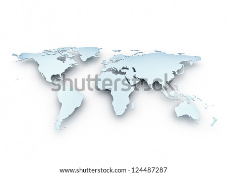 World map 3d metal texture - stock photo