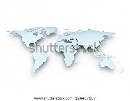 World map 3d metal texture - stock photo