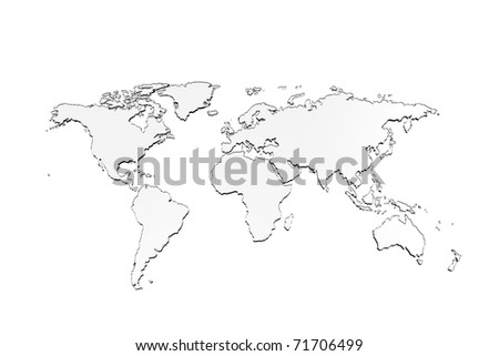 World Map, 3D render glass design - stock photo