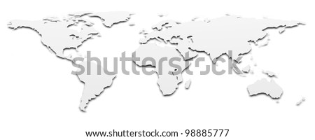 World map. 3d rendered background image - stock photo